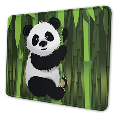 Curious Baby Panda on The Bamboo Gaming Mouse Pad with Stitched Edges, Customized Rectangle Mousepad Non-Slip Rubber Base for Computer Laptop Office Accessories 9.5 x 7.9 Inch
