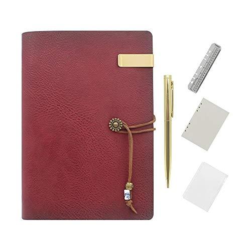 Wonderpool Carpeta de anillas de cuero para diario, cuaderno de papel recargable con forro de escritura, 6 anillos con blocs de notas para viajes de oficina y agenda de planes (a-Vino rojo, A5)