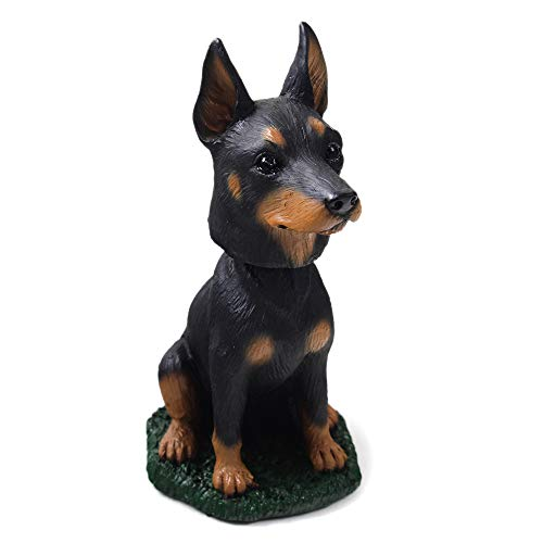 Doberman Pinscher Black and Tan Dog Bobblehead Figure for Car Dash Desk Fun Accessory