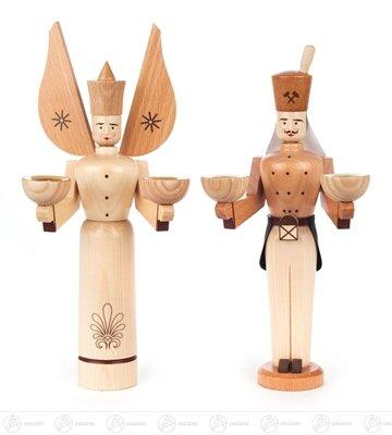 Rudolphs Schatzkiste Engel & Bergmann Natur, für Kerzen d=14mm Breite x Höhe x Tiefe 10,5 cmx24 cmx7,5 cm NEU Erzgebirge Weihnachtsfigur Holzfigur