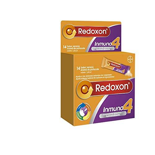 Redoxon Inmuno 4, Complejo Vitamínico para las Defensas, Vitamina C, Echinacea, Zinc, Própolis, Sabor Naranja, 14 Sobres