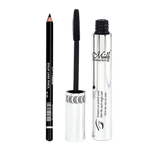 Sharplace Mascara Noir Waterproof à Volume Harmonieux de Cils + Crayon Eyeliner Eye Liner Pen - Outil de Maquillage Cosmétique