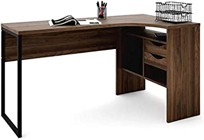 Amazon Com Office L Shaped Desk With 2 Shelves Is Compact
