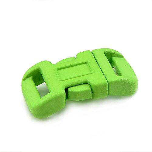 'Lot de 10 fermetures à clic 3/8, douilles No, en plastique pour bracelets paracord, cordons, etc., 34 mm x 17 mm, couleur : vert clair Taille S – Ganzoo