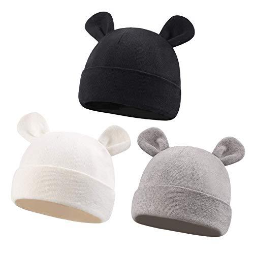 VUCDXOP 3 Unids Recién Nacido Beanie Sombrero Orejas de Oso Algodon Gorritos bebé niño Gorro de algodón para 0-6 Meses bebé