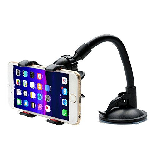 Esselkay _ Universal Soft Tube Mobile Holder with Multi-Angle 360 Degree Rotating Clip, Windshield Mirror Smartphone Car Holder for Mobile Phone - Double Duck   Strong Suction Cup Base Black, Pack of 1