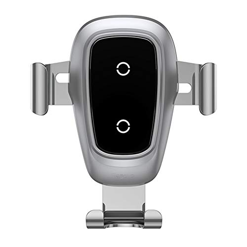 Cargador de Coche inalámbrico Monte teléfono Holder, 10w Qi Cargador de Coche rápido para Samsung Galaxy S9 / S9 + / S8 / S8 + / S7 / S6 Edge + / Nota 8 / Nota 5, iPhone 8/8 Plus/X/XR,Plata