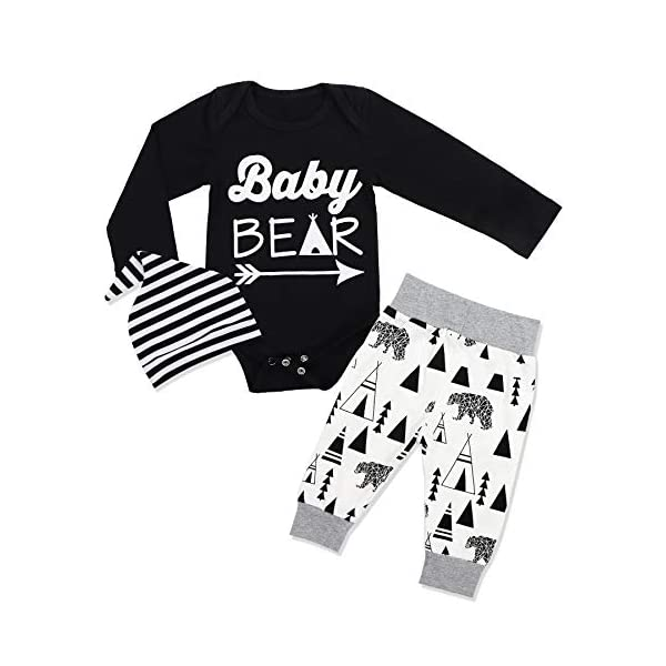 Toddler Infant Baby Boys Clothes Bear Long Sleeve Hoodie Tops Sweatsuit Pants Outfits Set