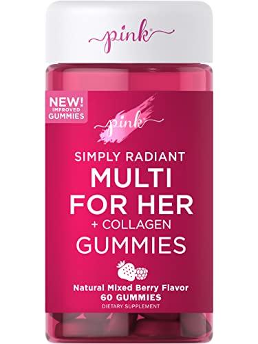 Pink Multivitamin for Women   60 Gummies   Non-GMO & Gluten Free   Plus Collagen & Biotin   Mixed Berry Flavor