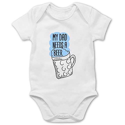 Oktoberfest & Wiesn Baby - My dad Needs a Beer - 1/3 Monate - Weiß - Body dad - BZ10 - Baby Body Kurzarm für Jungen und Mädchen