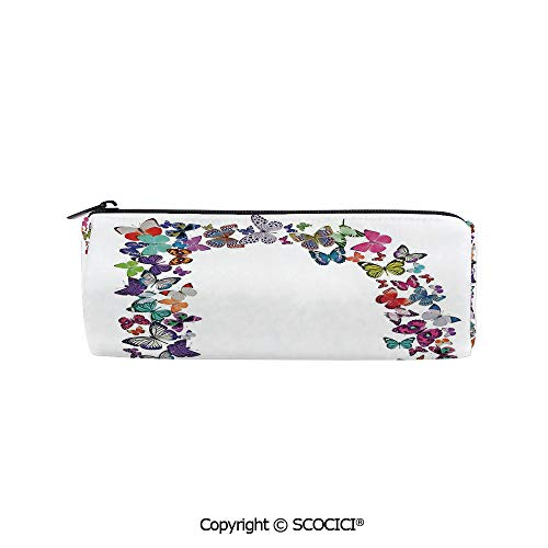 SCOCICI Pencil Case Cylinder Shape Pen Stationery Pouch Bag Magical Creatures Flying Monarch Butterflies Fragility Grace Artistic Collection Practical Durable Compact Zipper Pencil Case,8x3x3 inch