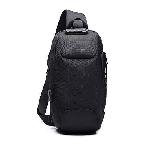 FANDARE Anti-Theft Sling Bag New Men Crossbody Bag fit 10.5 inch Tablet Women Chest Pack with USB Charging Port Shoulder Bag for Cycling Camping Riding Hiking Daypacks Waterproof Polyester Black A