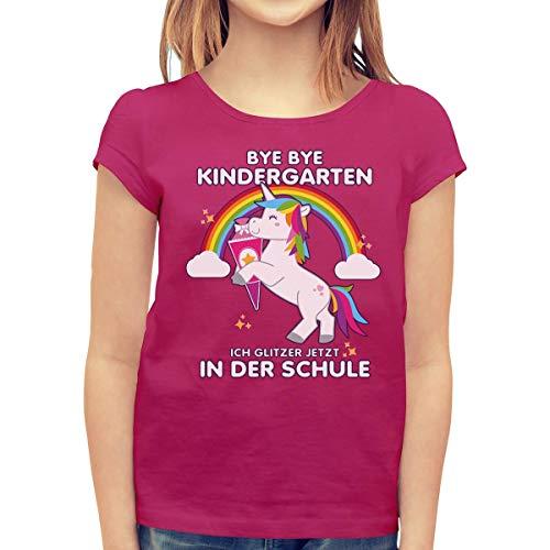 Schulanfang & Einschulung Bye Bye Kindergarten Einhorn Geschenk Mädchen T-Shirt 128 Beere