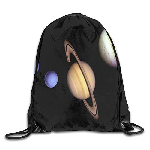 uykjuykj Tunnelzug Rucksäcke, Drawstring Backpack Bag Inside The Gas Giant Saturn Rucksack for...