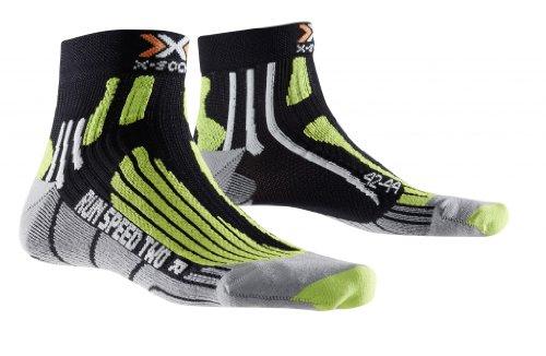 X-SOCKS - Run Speed 2 - Chaussettes de Running - Homme - Multicolore (Noir/Vert/Gris) - 35-38 EU