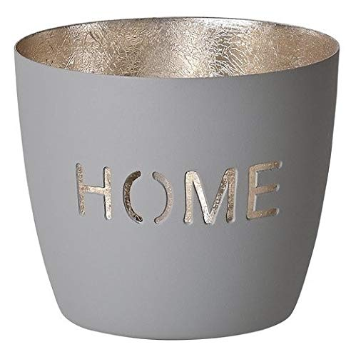 Gift Company - Teelichthalter, Windlicht - Madras - Home - Eisen - Flannel/Gold - (ØxH) 10 x 8 cm