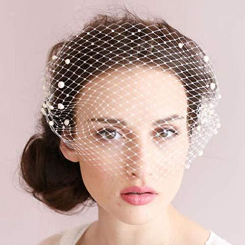 Heread 1920s Pearl Bride Wedding Birdcage Veil...