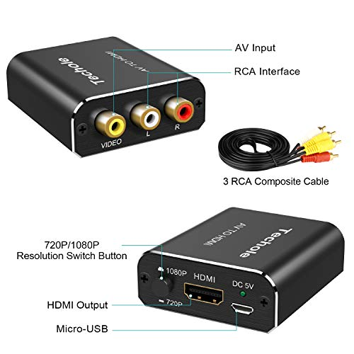 Techole RCA to HDMI [RCA Cables Included], Aluminum AV to HDMI Video Converter, 1080P RCA Composite CVBS Adapter Support PAL/NTSC with USB Cable for PC Xbox PS3 TV STB VHS VCR Camera DVD
