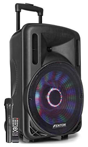 "Fenton FT12LED Aktiv-Lautsprecher 12"" 700W BT/USB/SD/AUX LED Akku Trolley"