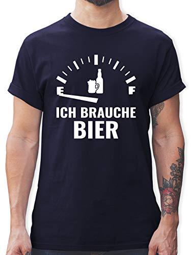 Sprüche - Ich Brauche Bier - weiß - M - Navy Blau - lustige Tshirts Herren - L190 - Tshirt Herren und Männer T-Shirts