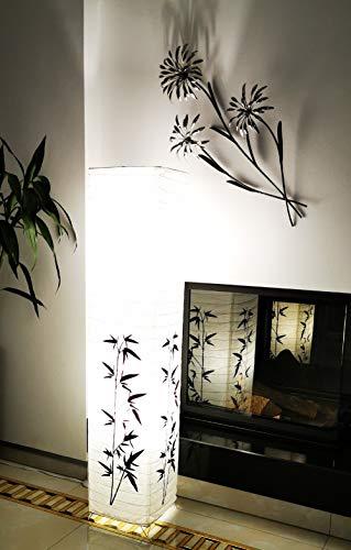 Trango 1216L Modern Design LED Stehlampe *KOREA* Reispapierlampe *HANDMADE* mit Bambus Motiv inkl. 2x E14 LED Leuchtmittel I Form: eckig I Höhe: ca. 125cm I Wohnraumlampe I Stehleuchte I Reispapier