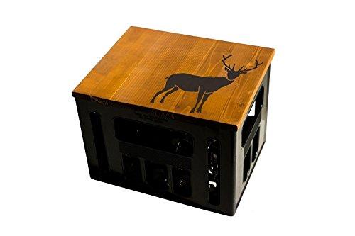 ultiMade Bierkastensitz Holz Sitzauflage für Bierkiste Geschenkidee Geschenk für Männer Biergeschenk Hocker Holz: Hirsch