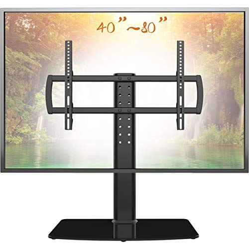 Universal TV Stand/ Base Tabletop TV Stand with Wall Mount for 40 to 80 inch 5 Level Height Adjustable, Heavy Duty Tempered Glass Base, Holds up to 132lbs Screens, HT03B-003