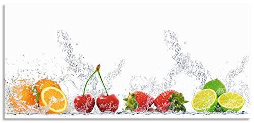 Artland Spritzschutz Küche aus Alu für Herd Spüle 130x60 cm Küchenrückwand mit Motiv Essen Obst Früchte Erbeeren Limette Orange Modern Hell Bunt S6JP