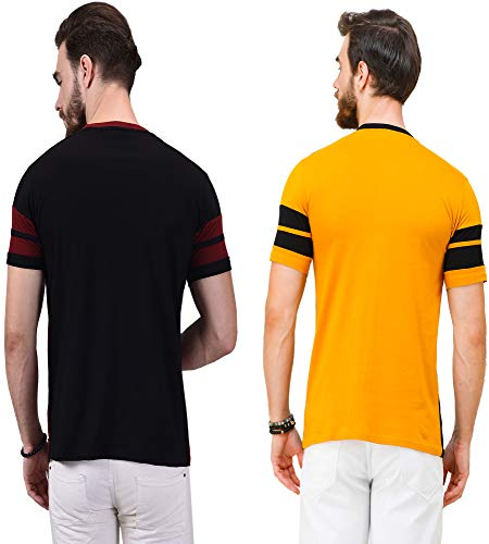Wrath Combo of Two T-Shirt for Men & Boys. (Marron & Yellow, Medium)