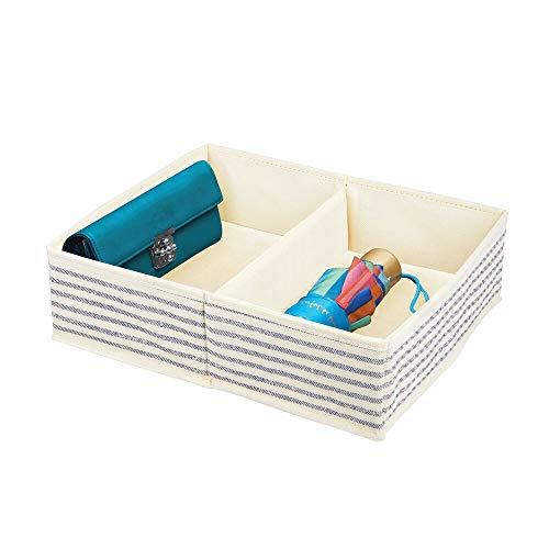 mDesign Organizador de Armario – Caja de Almacenamiento con 2 Compartimentos para ordenar armarios o cajones – Caja de Tela para Guardar Calcetines, Ropa Interior, etc. – Crudo/Azul