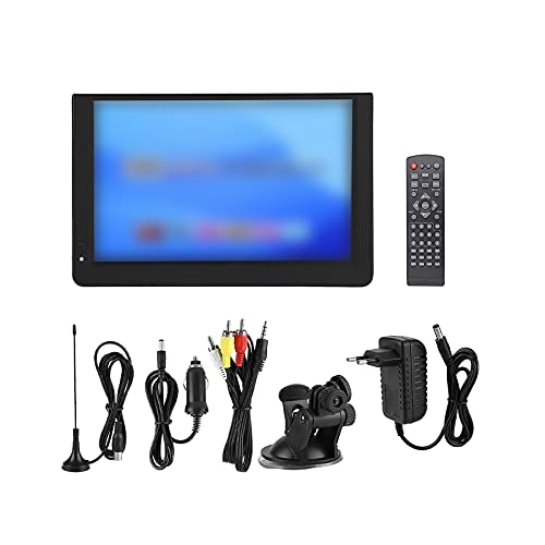 Televisión digital para coche de 14 pulgadas, TV LCD de alta definición, 1280 x 800, resolución ATSC-T/T2 TV digital 1800 mAh, recargable analógica, con antena de línea AV y mando a distancia