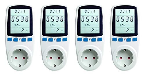 Asigo Energiekostenmessgerät 4er Set I Stromzähler für Steckdose I Stromverbrauchsmessgerät I Stromtarif frei einstellbar I Stromverbrauchszähler