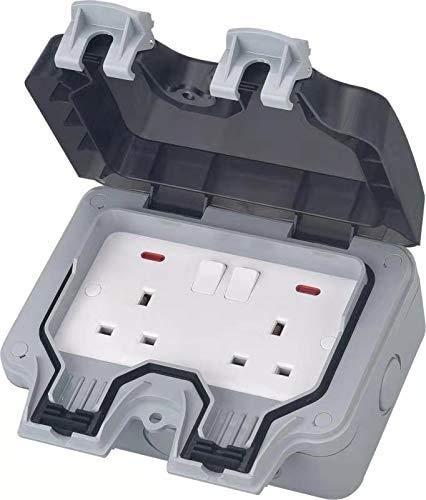 Zócalo al aire libre, IP66 2 pandillas impermeable doble zócalo, toma de corriente de pared exterior uso enchufe caja