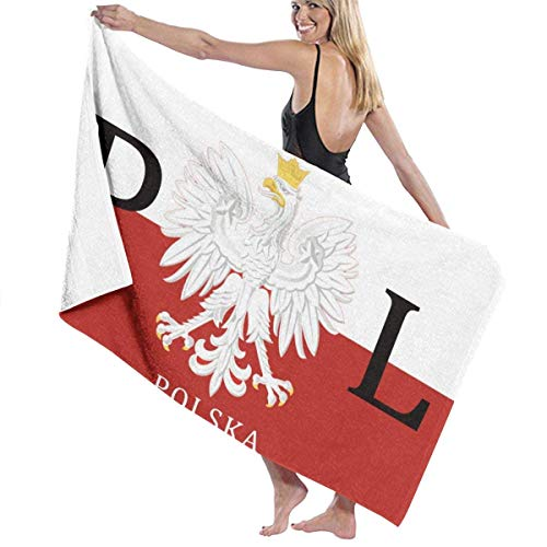 shizh Polnische Flagge Polen Polska Mikrofaser Strandtücher Quick Dry Super Absorbent Bathing Spa Pool Handtücher für Schwimmen & Outdoor, 80x130 cm