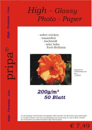 pripa 50 Blatt Fotopapier DIN A4, 200g /qm, high -Glossy hoch-glaenzend -sofort trocken -wasserfest- hochweiß -sehr hohe Farbbrillianz, Fuer Inkjet Drucker Tintenstrahldrucker