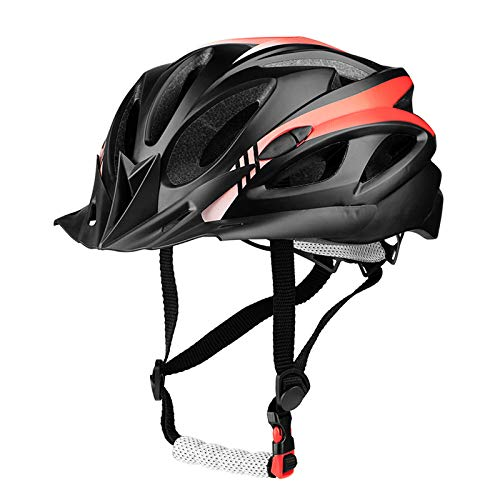 SUNRIMOON Adult Cycling Bike Helmet Bicycle Cycling Helmets Lightweight Road Bike Helmet Microshell Design Adjustable Size with Detachable Visor LED Safety Light for Women Men 21.26-24.41(BlackRed)