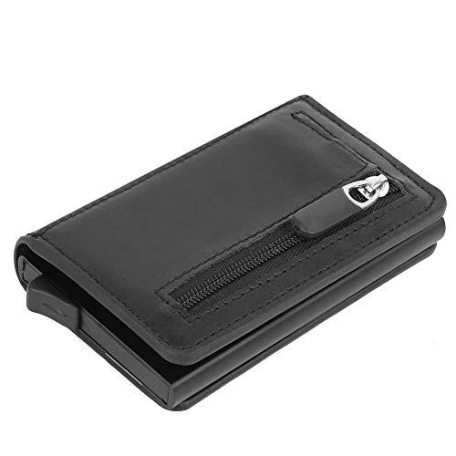 Monedero de cambio, billetera billetera de cuero PU con hebilla magnética, negro antirrobo masculino y femenino para viajes al aire libre(Crazy Horse Black)