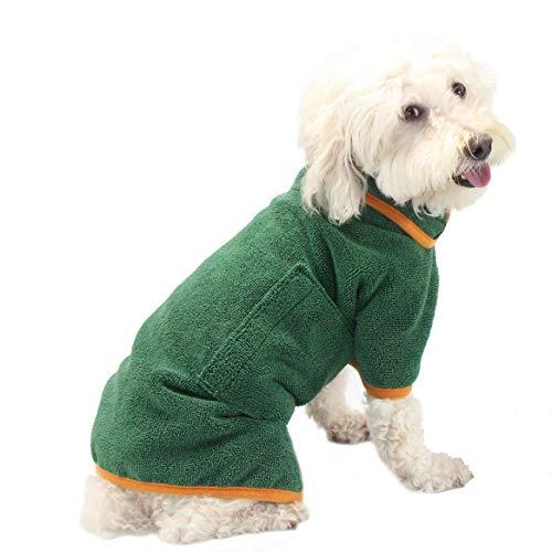 PETTOM Hundebademantel Mikrofaser Badetuch Hund Bademantel für Kleine Mittlere und Große Hunde (S, Grün)