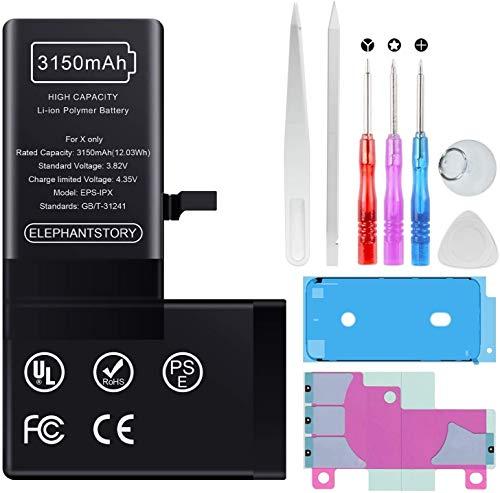 Akku für iPhone X 3150mAh| Qualitäts Erzatzakku | hohe Kapazität mit 16% mehr Polymer-Lithium-Batterie, Ersatz Austausch mit Reparatur Set mit Anleitung | Funktioniert mit ersatzakku
