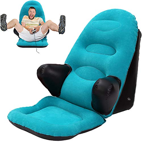 WEYFLY Reading Pillow, Inflatable Sofa Chair for Gaming, Bedrest Pillows with Arm for Reading Watching TV in Bed Floor Lawn (Blue)