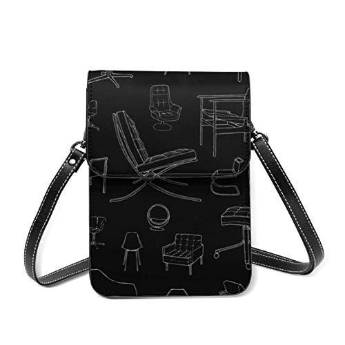 Bolso de hombro pequeño, para sillas de mediados de siglo, bolso cruzado para teléfono celular, bolso ligero para mujeres y niñas