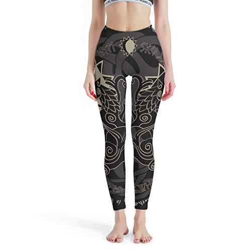 NeiBangM High Elastic Yoga Sporthose Damen Viking Caprihose für Workout White xs