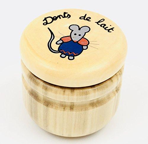 Artisanat français, Boite à Dents de Lait Petite Souris (modèle aléatoire) en Bois fabriquée dans Le Jura, emballée sous Vide