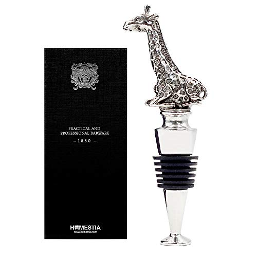 Homestia Wine and Beverage Bottle Stopper Stainless Steel with Giraffe Top Reusable Gift Set