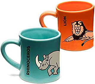 Wildini BittyMugs Lion/Rhinoceros - Kid Sized Mugs, 4oz Ceramic, BPA Free, Waldorf Preschool Mug, Kids Cup, Animal Mug Set, Hot Chocolate Mug, Milk Mug, Espresso Mug, Gift for Kids, for Small Hands