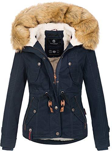 Navahoo warme Damen Designer Winter Jacke Winterjacke mit Kapuze und Teddyfell B643 [B643-Pearl-Navy-Gr.S]