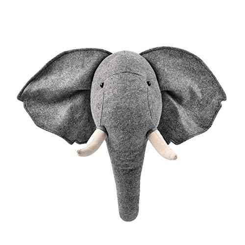Cabeza de Elefante Relleno de Pared para habitación, decoración de Pared de Cabeza de Animal de Peluche para niños, Animales, habitación Infantil, jardín de Infantes, decoración de Pared