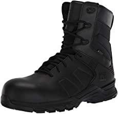 Timberland PRO Men's Hypercharge 8 Inch Composite Safety Toe Puncture Resistant Side-Zip Waterproof Tactical Duty Uniform Work, Black, 13 Wide