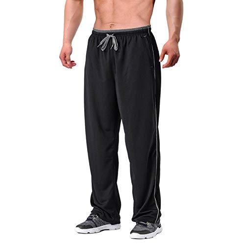 EKLENTSON Herren Schnell Trocknende Hose Sweatpants Fitnesshose Atmungsaktiv Yoga Taschen mit Reißverschluss Schwarz Grau, XL
