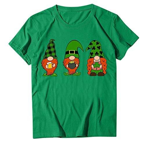 Janly Impreso Tops - Blusa de manga corta para mujer, diseño del día de San Patricio con cuello redondo, para mujer, color verde (XXXL)
